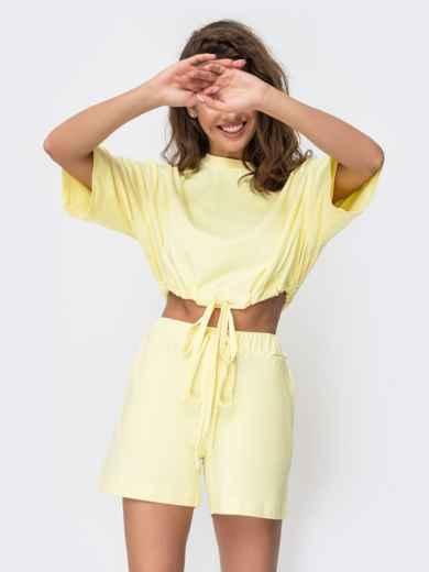 Комплект желтого цвета с шортами на кулиске   49348, фото 2