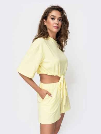 Комплект желтого цвета с шортами на кулиске   49348, фото 3