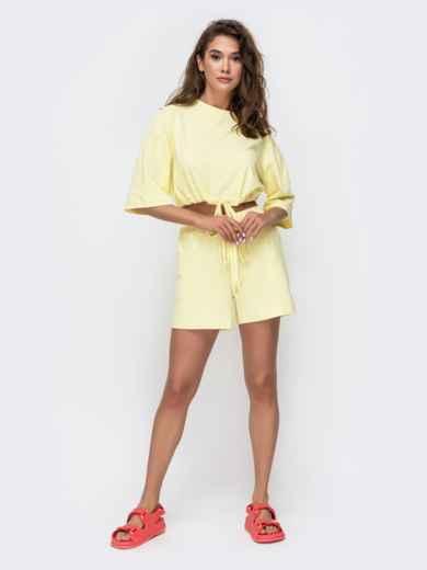 Комплект желтого цвета с шортами на кулиске   49348, фото 4