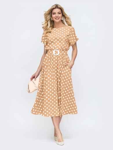 Платье в горох с расклешенной юбкой бежевое 48311, фото 1
