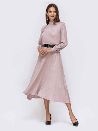 Расклешенное платье-макси с резинкой по талии пудровое 41334, фото 2