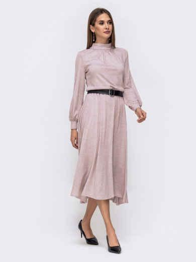 Расклешенное платье-макси с резинкой по талии пудровое 41334, фото 3