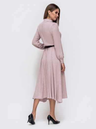 Расклешенное платье-макси с резинкой по талии пудровое 41334, фото 4