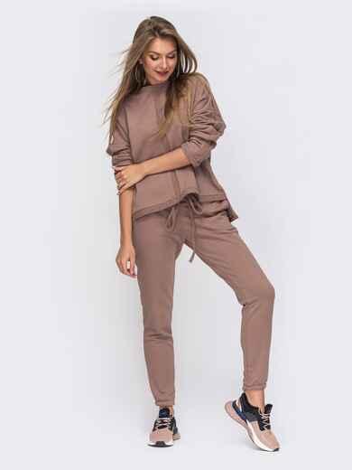 Спортивный костюм пудрового цвета из худи и брюк 51050, фото 1