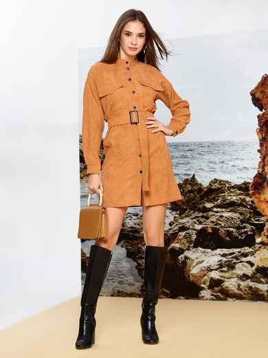 Вельветовое платье-рубашка коричневого цвета на кнопках 42165, фото 1