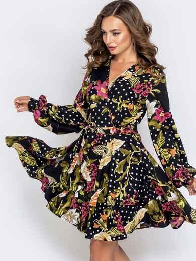Чёрное платье с принтом и расклешенной юбкой 41037, фото 1