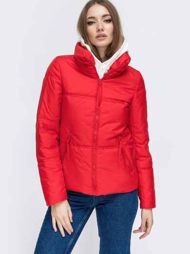 Демисезонная куртка с высоким воротником красная 45280, фото 1