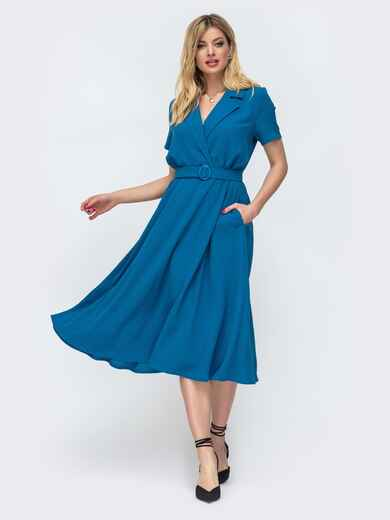 Приталенное платье-миди из костюмной ткани синее 47828, фото 1