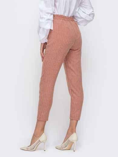 Укороченные брюки в полоску с завышенной посадкой красные 50505, фото 2