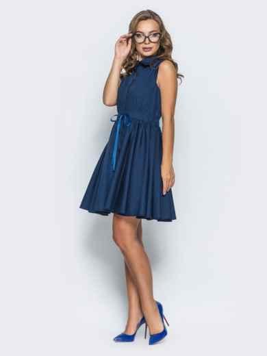 Хлопковое платье с объемной юбкой тёмно-синее 14615, фото 2