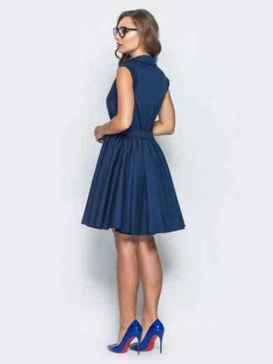 Хлопковое платье с объемной юбкой тёмно-синее 14615, фото 3