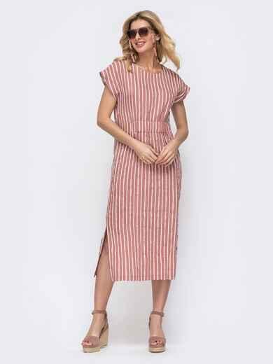 Пудровое платье в полоску со сборкой на резинке 46815, фото 1