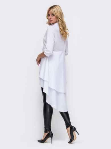 Рубашка белого цвета с объёмной баской 50382, фото 2