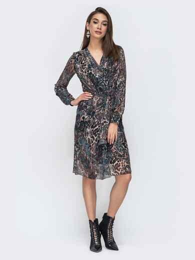 Шифоновое платье на запах с анималистическим принтом 45059, фото 1