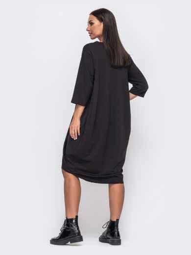 Платье-баллон большого размера с удлиненной спинкой чёрное 51350, фото 2