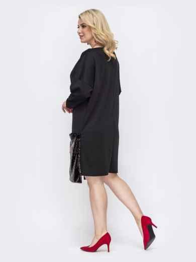 Платье большого размера с пайетками на карманах чёрное 49993, фото 2