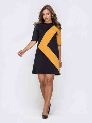 Чёрное платье-трапеция с геометрической вставкой 41333, фото 1