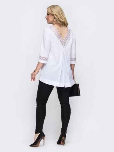 Комплект большого размера из удлиненной блузки и брюк белый 49846, фото 2