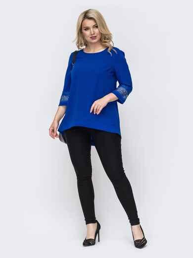 Комплект большого размера из удлиненной блузки и брюк синий 49847, фото 1