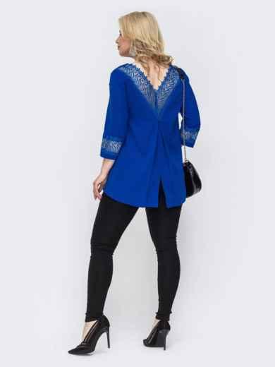 Комплект большого размера из удлиненной блузки и брюк синий 49847, фото 2