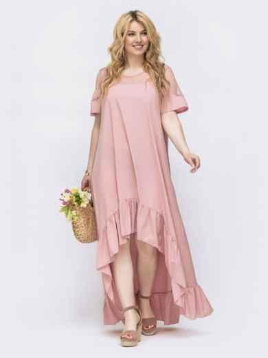 Пудровое платье большого размера с удлиненной спинкой 46157, фото 1