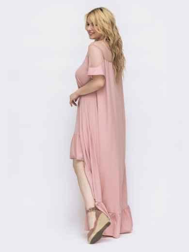 Пудровое платье большого размера с удлиненной спинкой 46157, фото 2