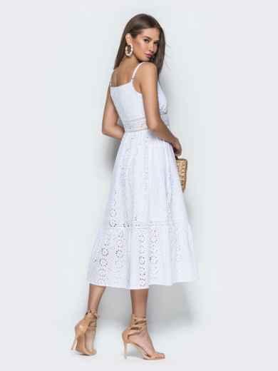 Белое платье из прошвы на бретелях с воланом по низу 38689, фото 4