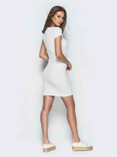 Обтягивающее платье с круглым вырезом и пуговицами белое 38604, фото 4