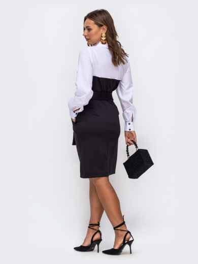 Приталенное платье-рубашка в полоску с рубашечным верхом чёрное 50509, фото 2