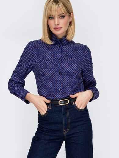 Рубашка прямого кроя с принтом фиолетовая 52840, фото 1