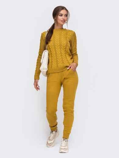 Вязаный комплект желтого цвета из джемпера и брюк 50182, фото 1