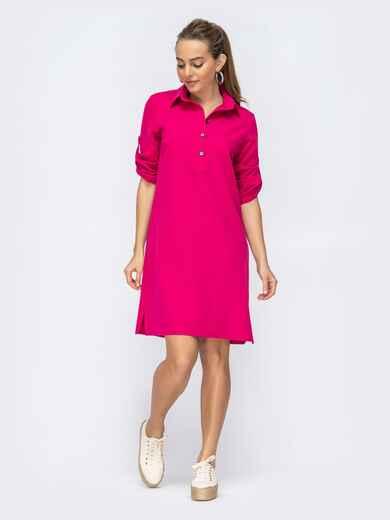 Платье прямого кроя с шлевкой по рукавам розовое 44873, фото 1