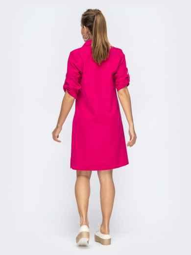 Платье прямого кроя с шлевкой по рукавам розовое 44873, фото 2