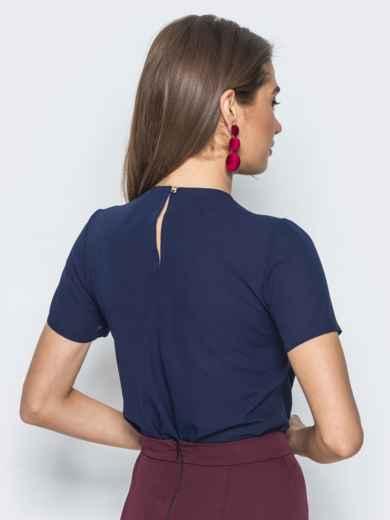 Блузка с кружевом на полочке и бантом тёмно-синяя 14178, фото 3