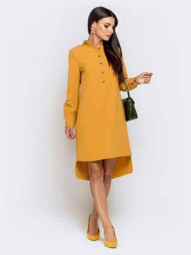 Приталенное платье с удлиненной спинкой желтое 40851, фото 2