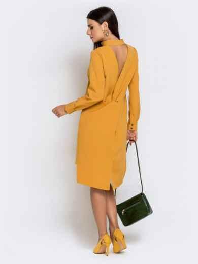 Приталенное платье с удлиненной спинкой желтое 40851, фото 3
