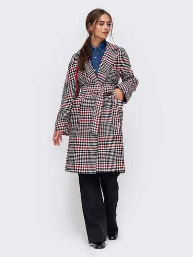 Красное пальто с накладными карманами спереди 50387, фото 1