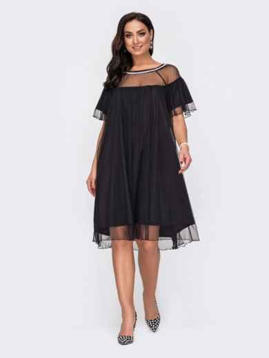 Свободное платье батал с жемчужинами по вырезу чёрное 52155, фото 2