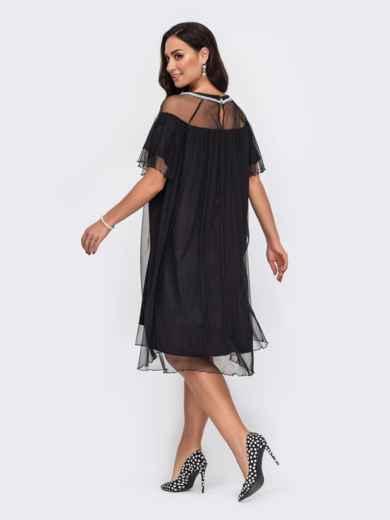 Свободное платье батал с жемчужинами по вырезу чёрное 52155, фото 3