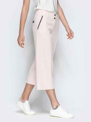 Укороченные брюки-кюлоты с карманами пудровые 38548, фото 2