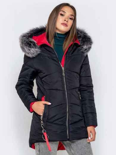 Зимняя куртка с удлиненной спинкой и капюшоном чёрная 40631, фото 2
