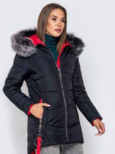 Зимняя куртка с удлиненной спинкой и капюшоном чёрная 40631, фото 3
