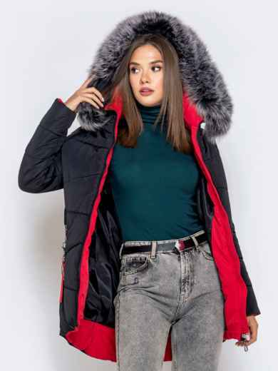 Зимняя куртка с удлиненной спинкой и капюшоном чёрная 40631, фото 4