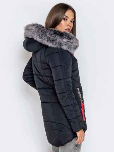 Зимняя куртка с удлиненной спинкой и капюшоном чёрная 40631, фото 5