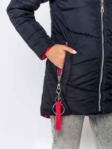 Зимняя куртка с удлиненной спинкой и капюшоном чёрная 40631, фото 6