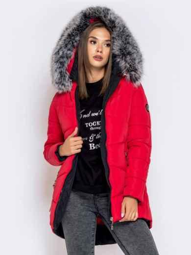 Зимняя куртка с удлиненной спинкой и капюшоном красная 40632, фото 2