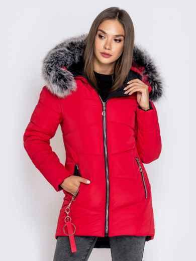 Зимняя куртка с удлиненной спинкой и капюшоном красная 40632, фото 3
