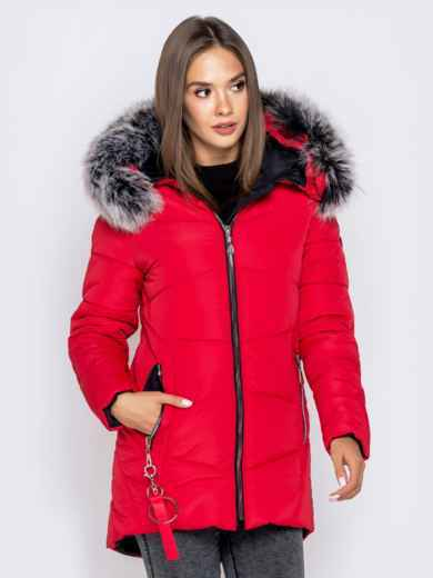 Зимняя куртка с удлиненной спинкой и капюшоном красная 40632, фото 4