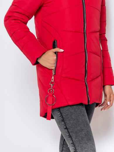 Зимняя куртка с удлиненной спинкой и капюшоном красная 40632, фото 6