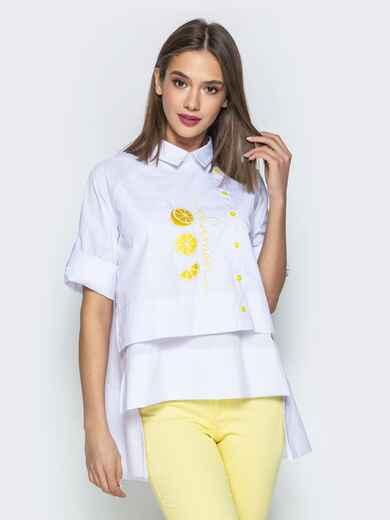 """Белая рубашка с рукавом-реглан и нашивкой """"лимон"""" 22194, фото 1"""
